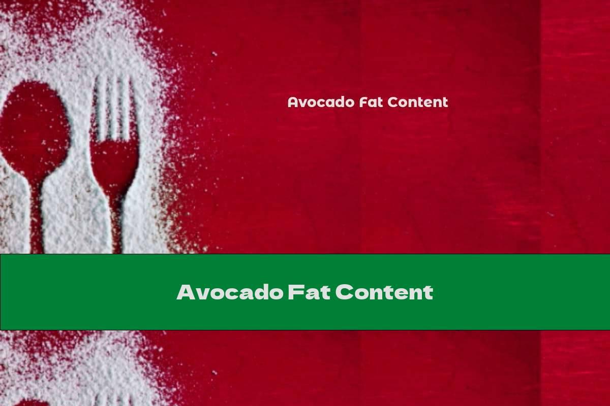 Avocado Fat Content